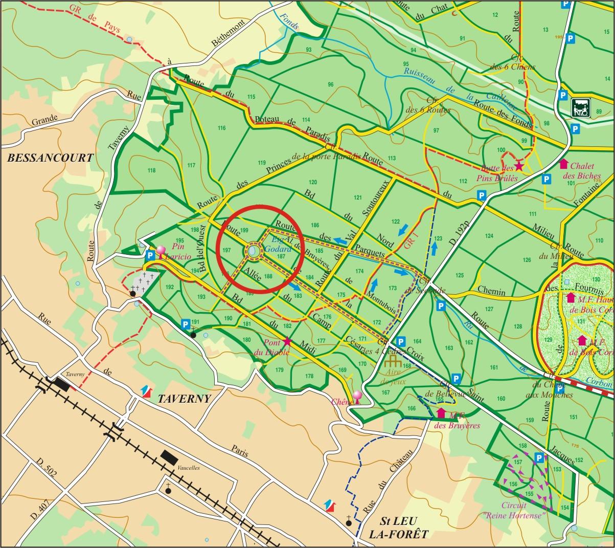 Carte ONF étang Godard